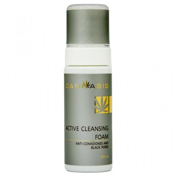 Пена для глубокого очищения проблемной кожи, склонной к воспалению и образованию «черных точек» с экстрактом каннабиса ACTIVE CLEANSING FOAM Anti-comedones and black pores 150 мл